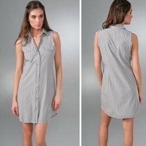 Nili Lotan Western Shirt Dress Striped Size Large